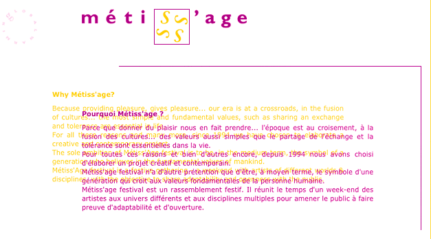 métissage.org Vintage (homepage created in 2004)